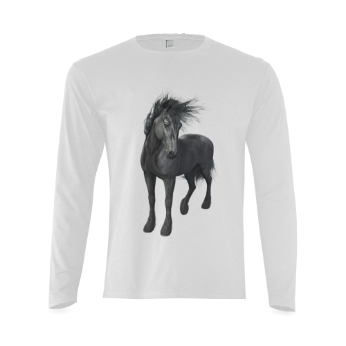 Gothic Friesian Horse Sunny Men's T-shirt (long-sleeve) (Model T08)