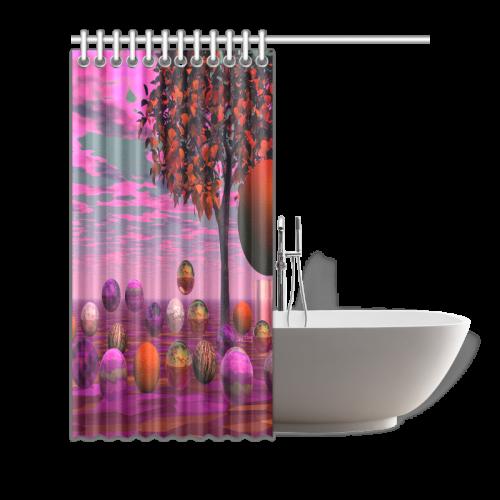 "Bittersweet Opinion, Bronze Raspberry Maple Tree Shower Curtain 72""x72"""