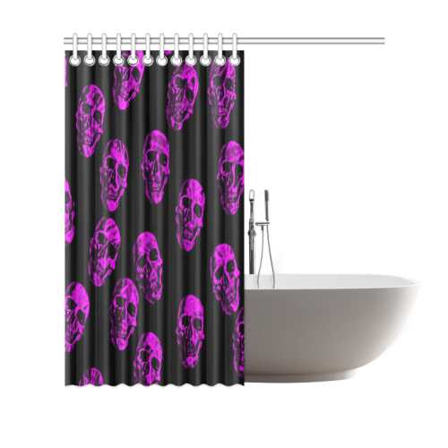 "purple skulls Shower Curtain 69""x70"""