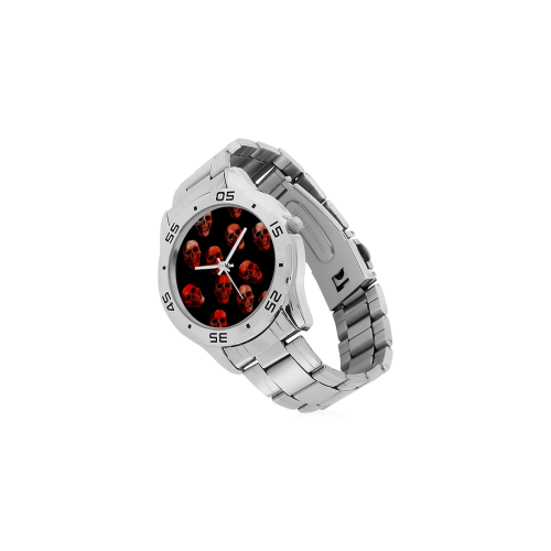 skulls red Men's Stainless Steel Analog Watch(Model 108)