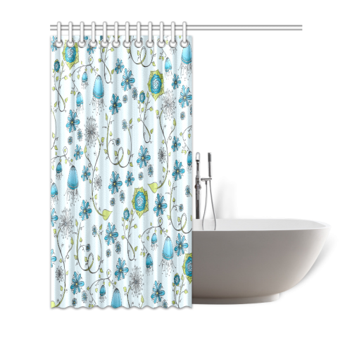 "blue fantasy doodle flower pattern Shower Curtain 72""x72"""
