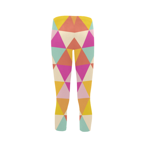 Yellow Geometric Triangle Pattern Capri Legging (Model L02)