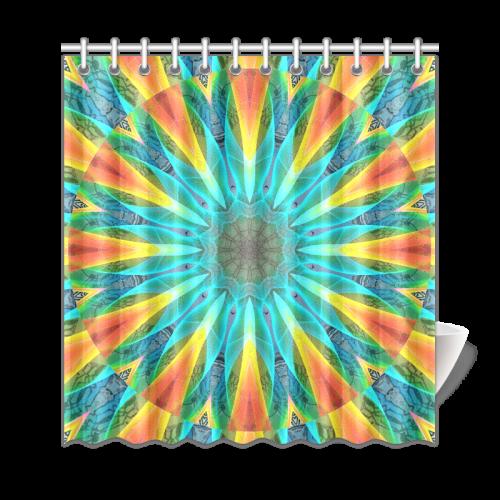Aqua Gold Joy To The World Flowers Zen Rainbow Shower Curtain 69x72