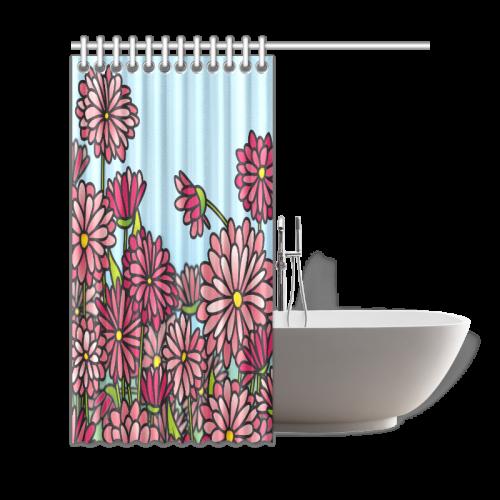 "chrysantenum flower field pink floral Shower Curtain 69""x72"""