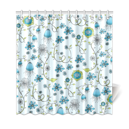 "blue fantasy doodle flower pattern Shower Curtain 69""x72"""