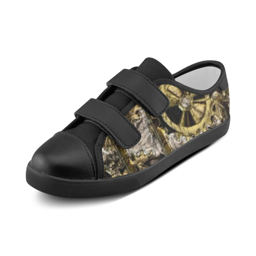 Metal Steampunk Velcro Canvas Kid's Shoes (Model 008)