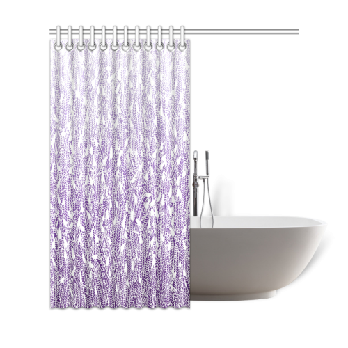 "purple ombre feathers pattern white Shower Curtain 69""x72"""