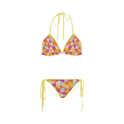 Yellow Geometric Triangle Pattern Custom Bikini Swimsuit