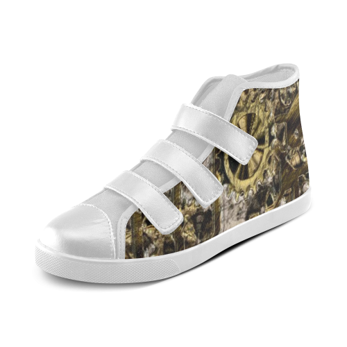 Metal Steampunk Velcro High Top Canvas Kid's Shoes (Model 015)