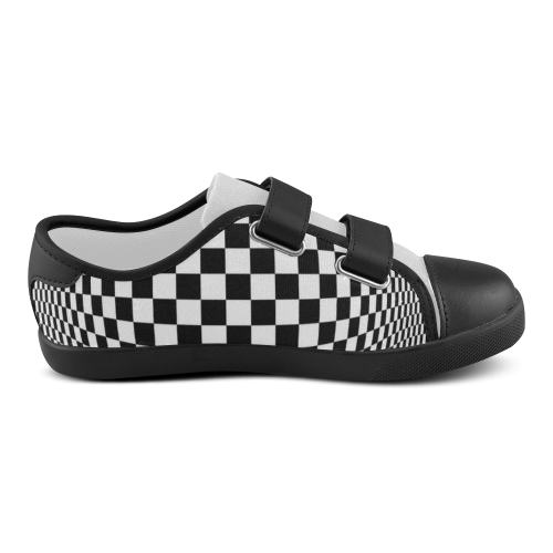 Optical Illusion Checkers Chequers Velcro Canvas Kid's Shoes (Model 008)