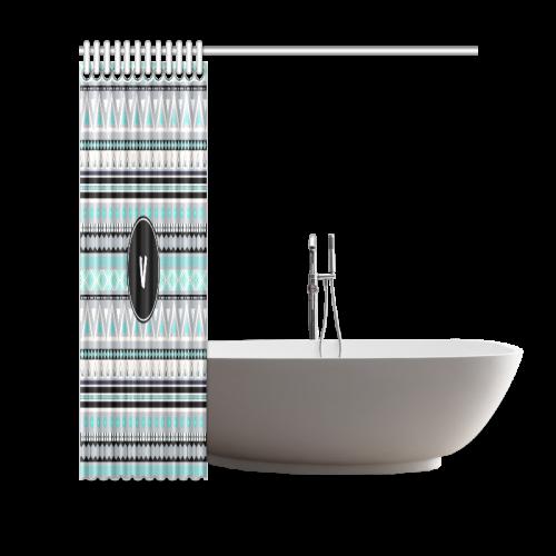 "Borders Monogram V Shower Curtain 69""x70"""
