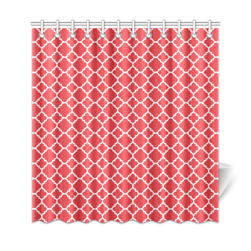 "red white quatrefoil classic pattern Shower Curtain 69""x72"""