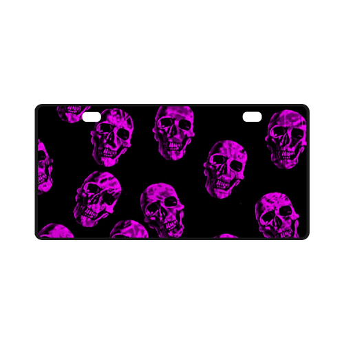purple skulls License Plate