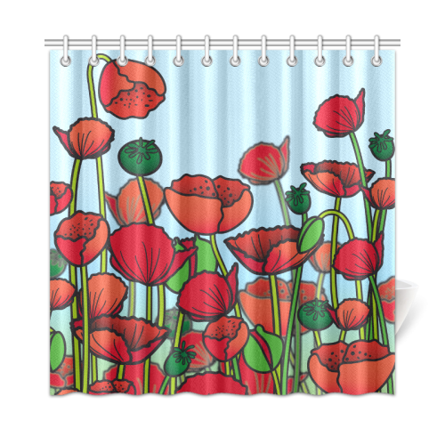 Field Of Poppy Flowers Red Floral Shower Curtain