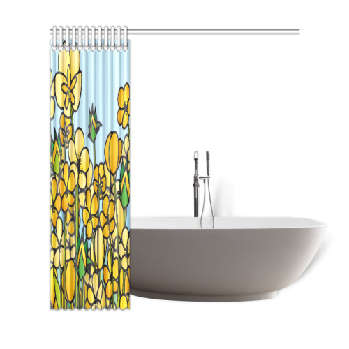"buttercup flower field yellow floral arrangement Shower Curtain 69""x72"""