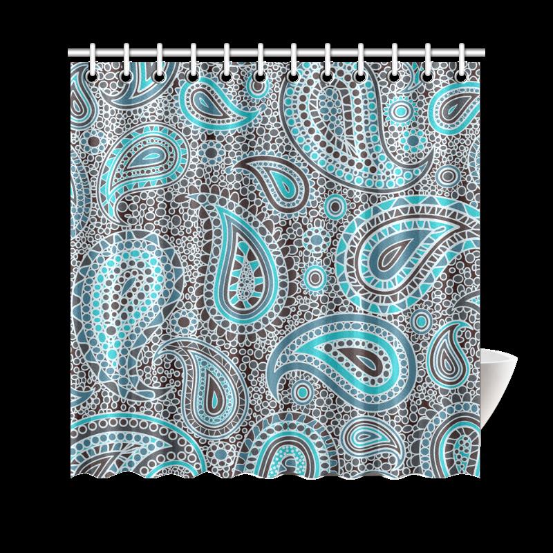 Blue Paisley Mosaic Design Shower Curtain 69 X70 Id D171089