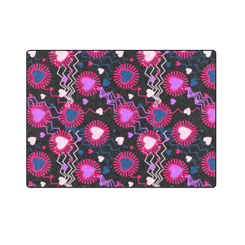 "Punk Rock Hearts Blanket 58""x80"""