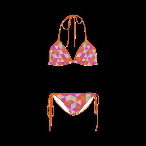 Orange Geometric Triangle Pattern Custom Bikini Swimsuit