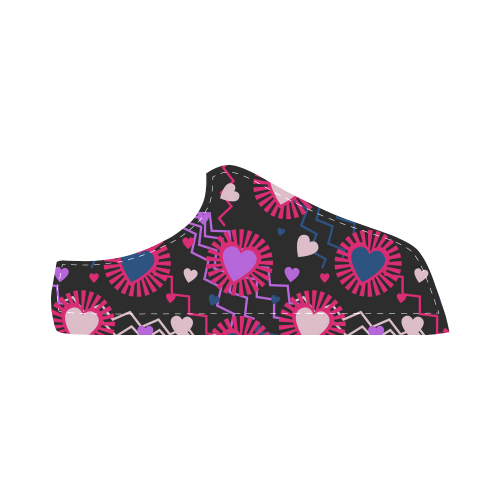 Punk Rock Hearts Women's Chukka Canvas Shoes (Model 003)