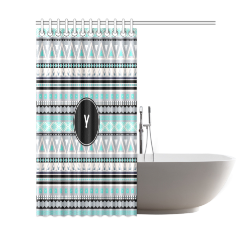 "Borders Monogram Y Shower Curtain 69""x70"""
