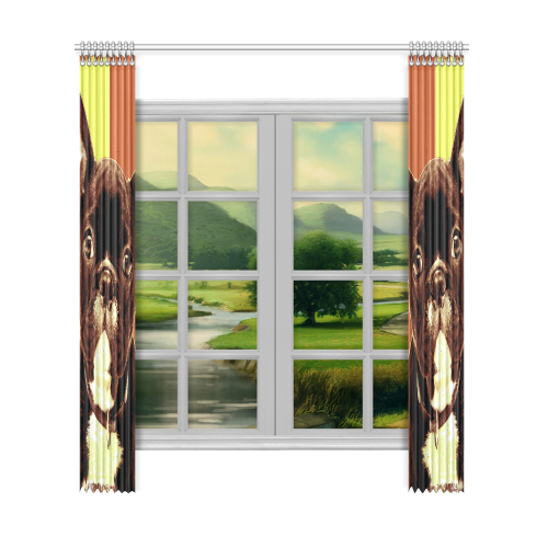"FRENCH BULLDOG Window Curtain 52""x120""(Two Piece)"