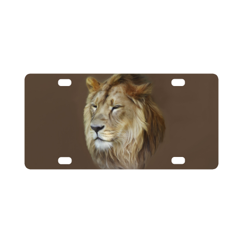 A magnificent painting Lion portrait Classic License Plate