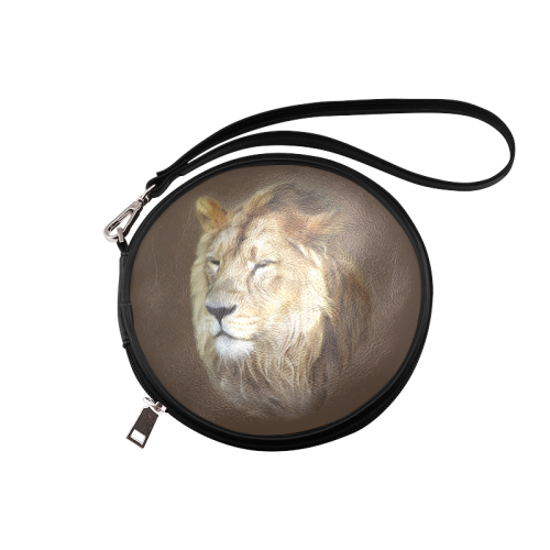 A magnificent painting Lion portrait Round Makeup Bag (Model 1625)