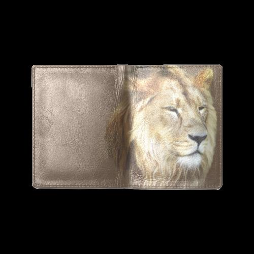 A magnificent painting Lion portrait Men's Leather Wallet (Model 1612)