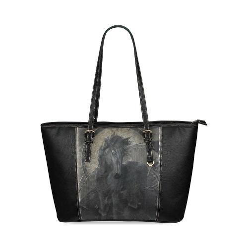 Gothic Friesian Horse Leather Tote Bag/Small (Model 1640)