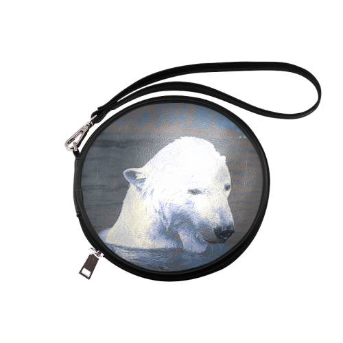Swimming polar Baer Round Makeup Bag (Model 1625)