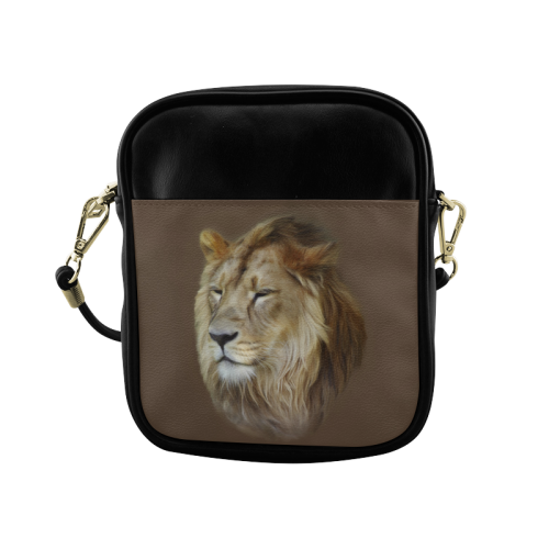 A magnificent painting Lion portrait Sling Bag (Model 1627)