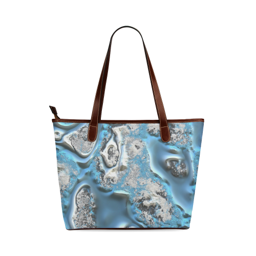metal art 11, blue Shoulder Tote Bag (Model 1646)