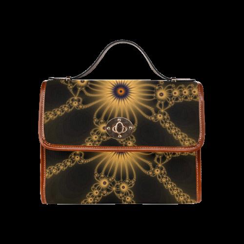 Fractal Orange Flower Bloom Waterproof Canvas Bag/All Over Print (Model 1641)
