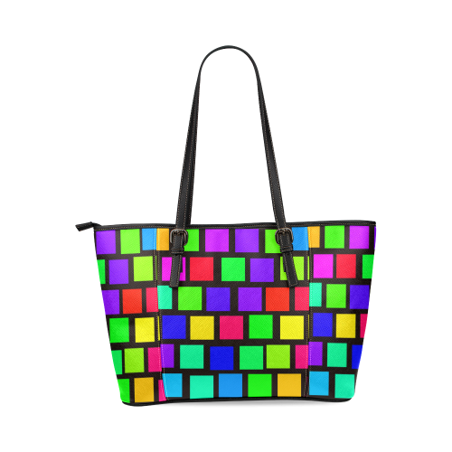 colorful checkered Leather Tote Bag/Large (Model 1640)
