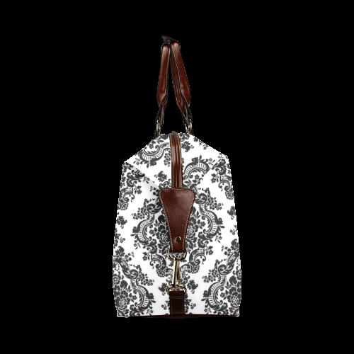 Black and White Damask Classic Travel Bag (Model 1643)