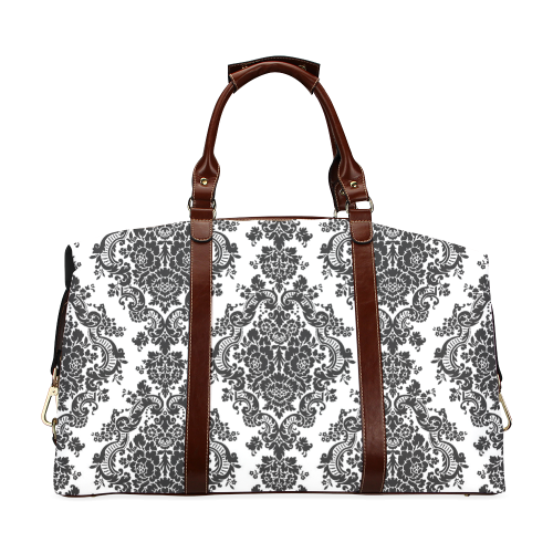 Black and White Damask Classic Travel Bag (Model 1643)