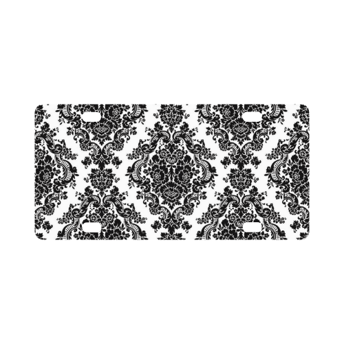 Black and White Damask Classic License Plate