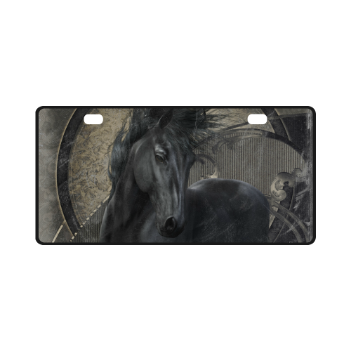 Gothic Friesian Horse License Plate