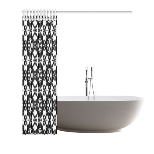 "black and white Pattern 3416 Shower Curtain 66""x72"""