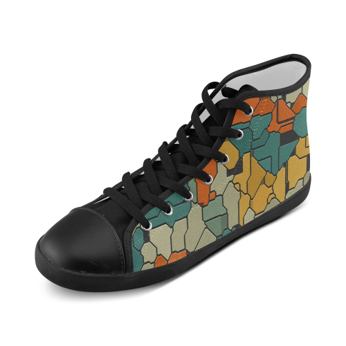Textured retro shapes High Top Canvas Kid's Shoes (Model 002)