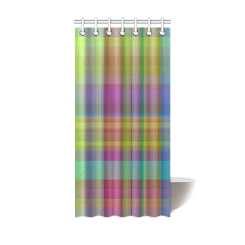 "modern plaid, cool colors Shower Curtain 36""x72"""