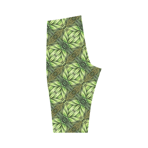 Mandy Green - Leaf Weave small foliage Hestia Cropped Leggings (Model L03)