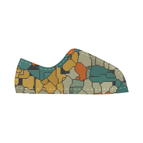 Textured retro shapes Canvas Kid's Shoes (Model 016)