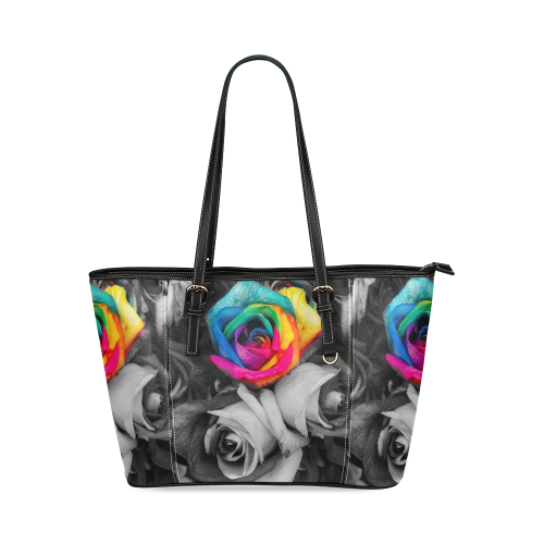 blach,white splash roses Leather Tote Bag/Large (Model 1640)