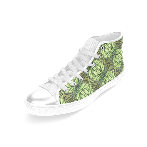 Mandy Green - Leaf Weave small foliage Women's Classic High Top Canvas Shoes (Model 017)