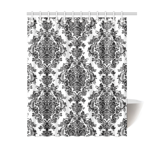 "Black and White Damask Shower Curtain 60""x72"""