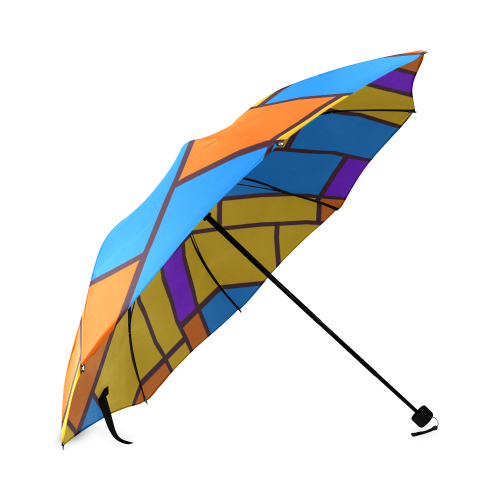 Shapes in retro colors Foldable Umbrella (Model U01)