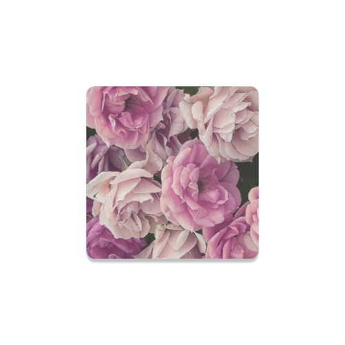 great garden roses pink Square Coaster