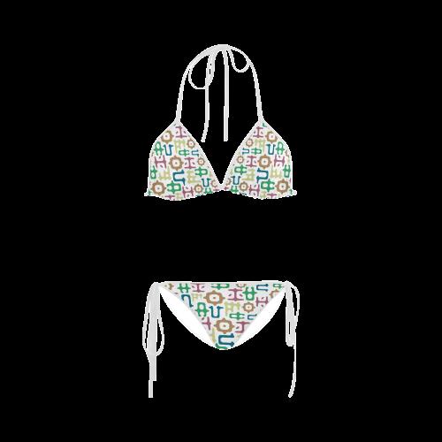 Funky Vowels Pattern Custom Bikini Swimsuit