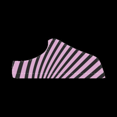 Black lines, purple Women's Chukka Canvas Shoes (Model 003)